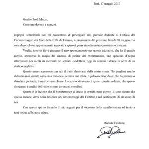 Il saluto di Michele Emiliano, Presidente della Regione Puglia